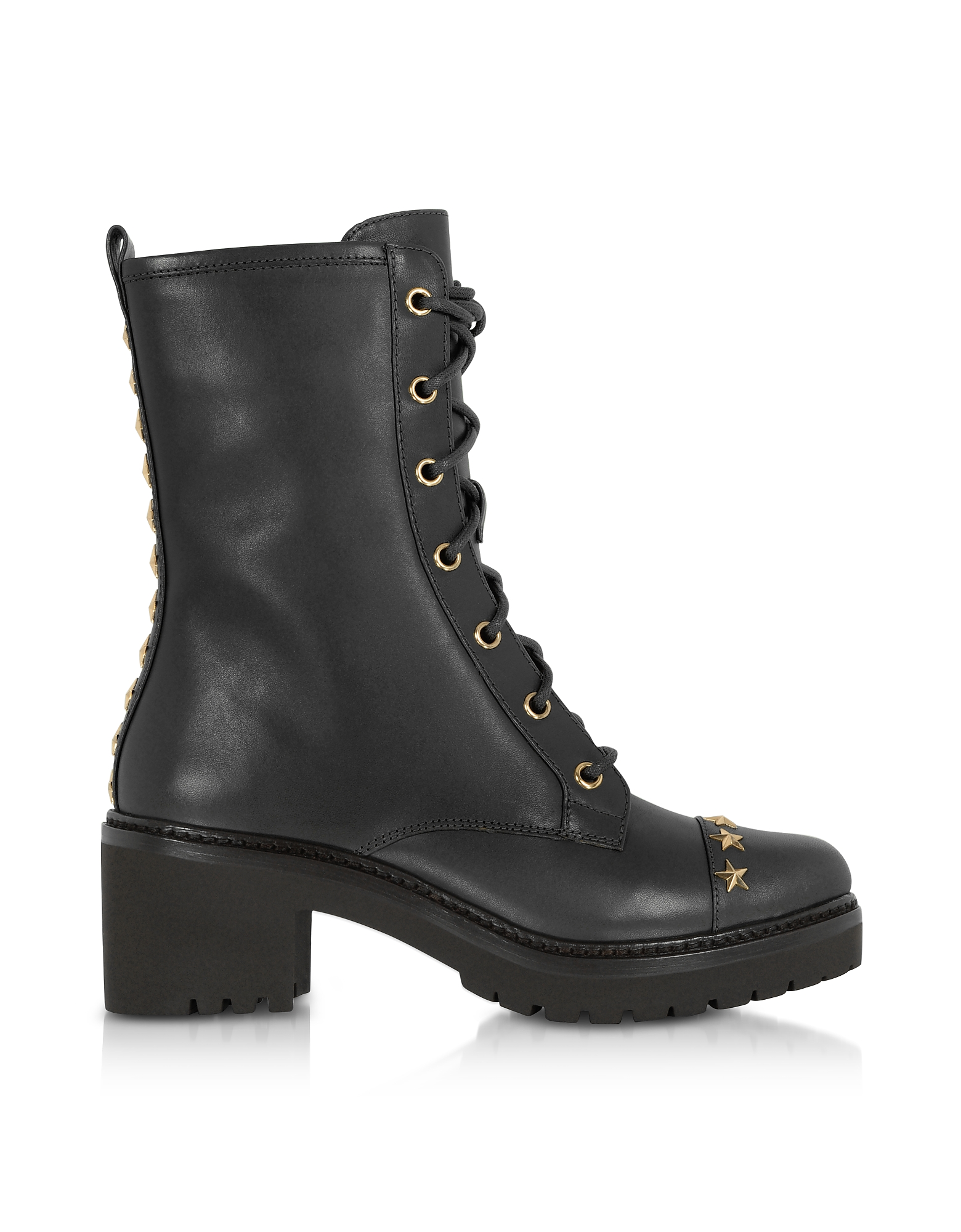 Michael Kors Shoes, Cody Black Leather Mid-Heel Boots w/Star Studs