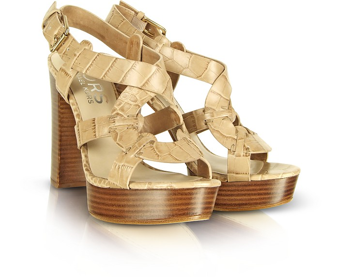 Veta - Beige Leather Platform Sandal - Michael Kors