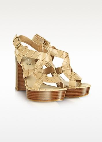 Veta - Beige Leather Platform Sandal - Michael Kors