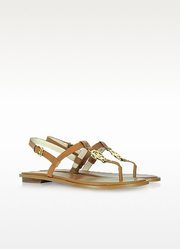 Sondra - Signature Tan Leather Flat Sandal - Michael Kors