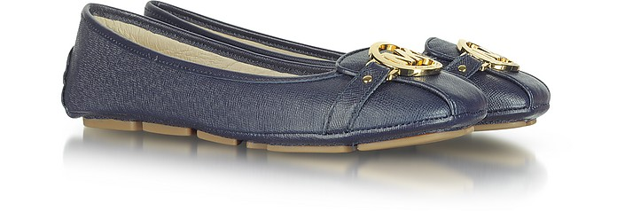 Fulton Navy Blue Leather Flat Moccasins - Michael Kors