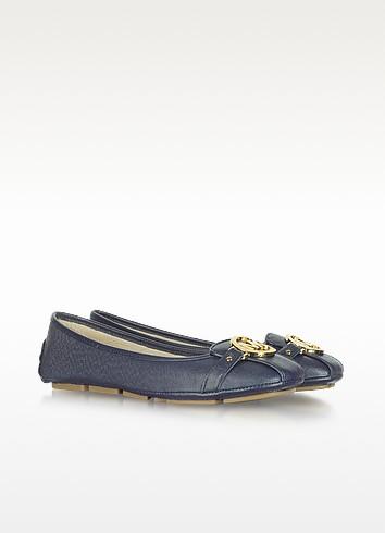 Fulton Navy Blue Leather Flat Moccasins - Michael Kors