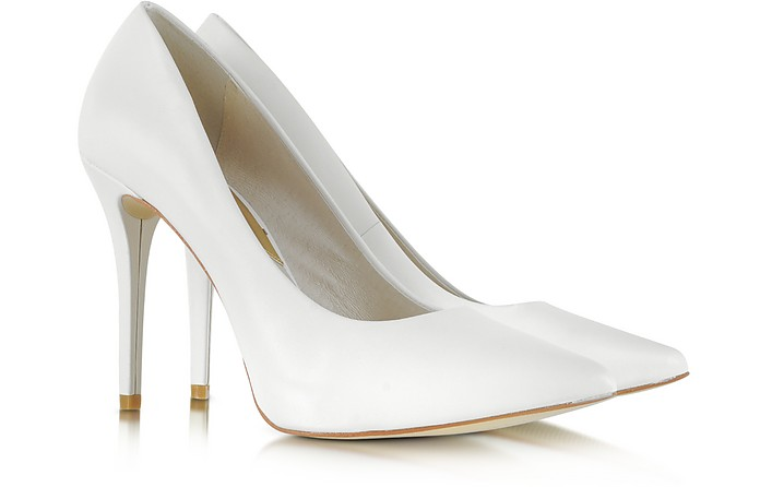 Joselle Optic White Pointed-Toe Leather Pump - Michael Kors