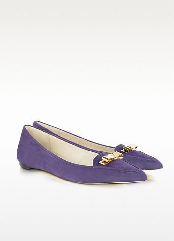 Vivienne Pointed-Toe Purple Suede Flat - Michael Kors