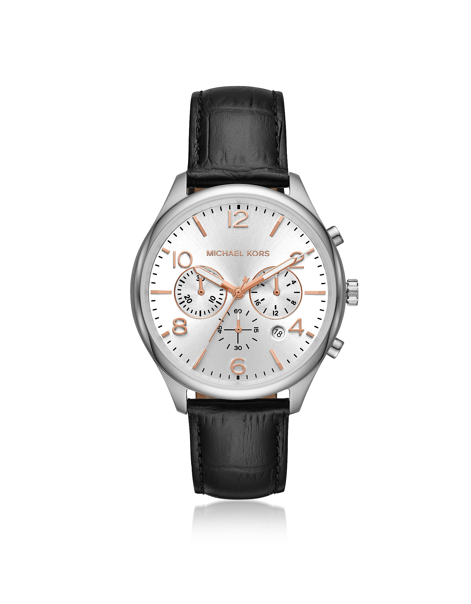 Merrick Black Crocodile-Embossed Leather Multi-function Watch