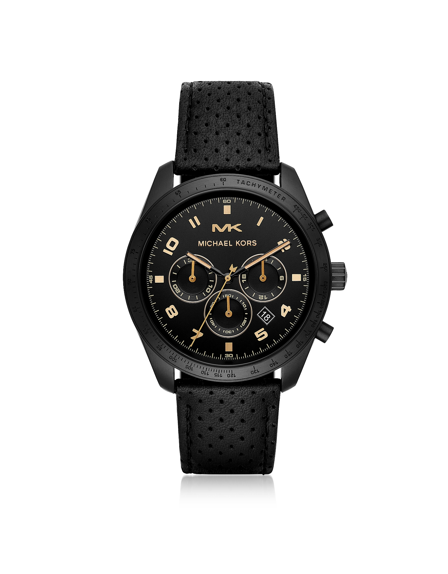 Oversized Keaton Black Tone Perforated Leather Watch