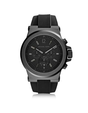 michael kors male 188971 dylan black stainless steel oversized mens chrono watch