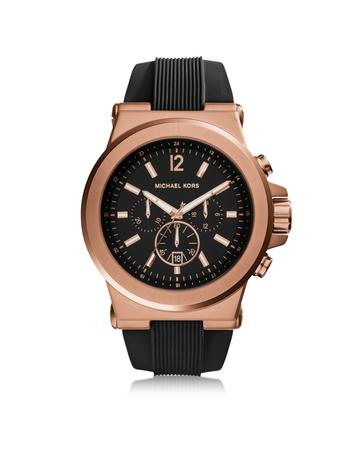 michael kors male 220183 dylan rose gold tone stainless steel case and black silicone strap mens crono watch