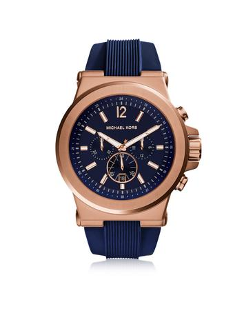 michael kors male 220183 dylan rose gold tone stainless steel case and blue silicone strap mens crono watch
