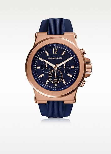 Dylan Rose Gold Tone Stainless Steel Case and Blue Silicone Strap Men's Crono Watch - Michael Kors