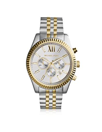 michael kors male 45900 lexington two tone stainless steel mens chrono watch
