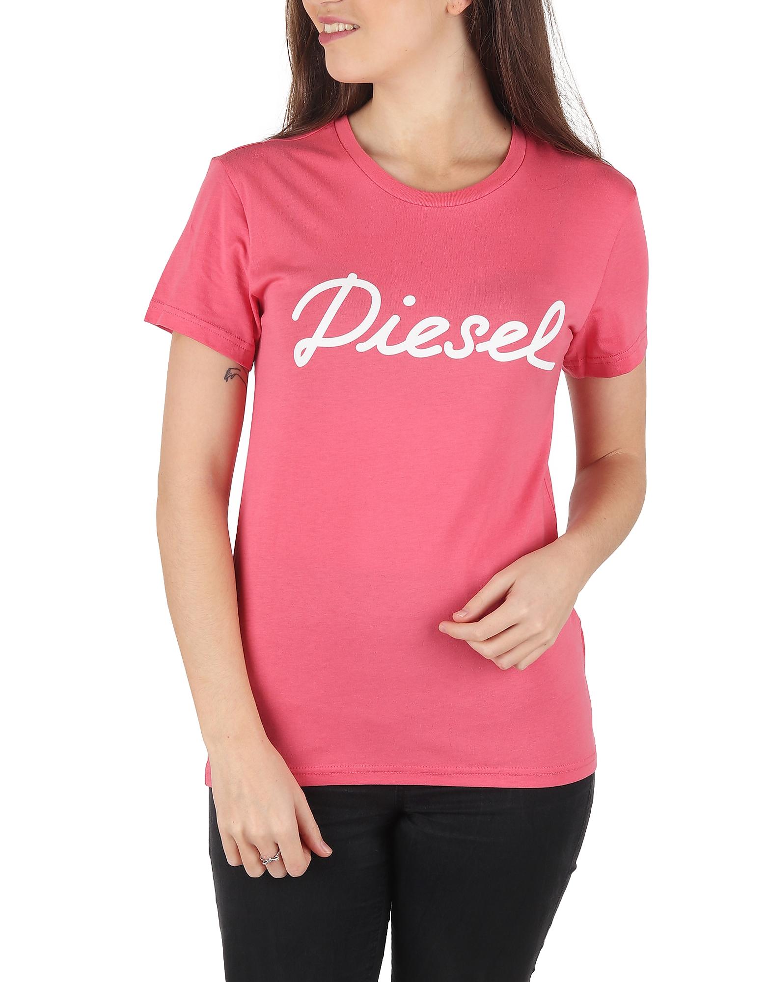 Diesel Designer T-Shirts & Tops, T Sully Ah B Pink Printed Cotton T-Shirt