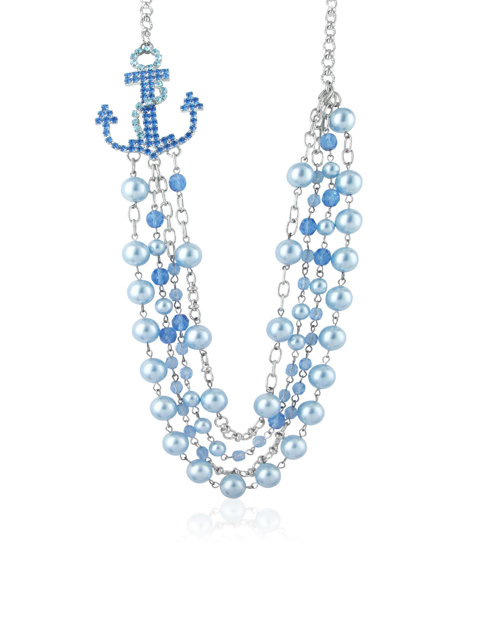 Ileana Creations Halskette mit blauem Anker und Perlen mit Swarovskisteinen besetzt