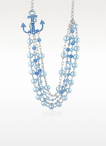 Blue Anchor Necklace  - Ileana Creations