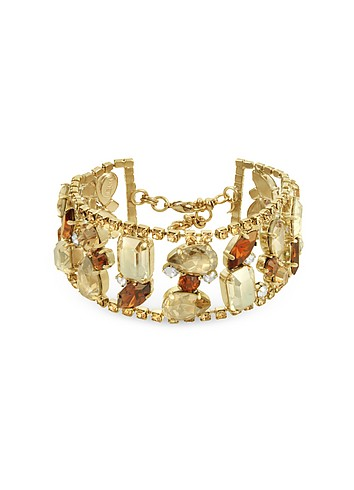 Ileana Creations Retro Swarovski Crystal Gold Plated Bracelet :  swarovski vintage italian jewelry accessories