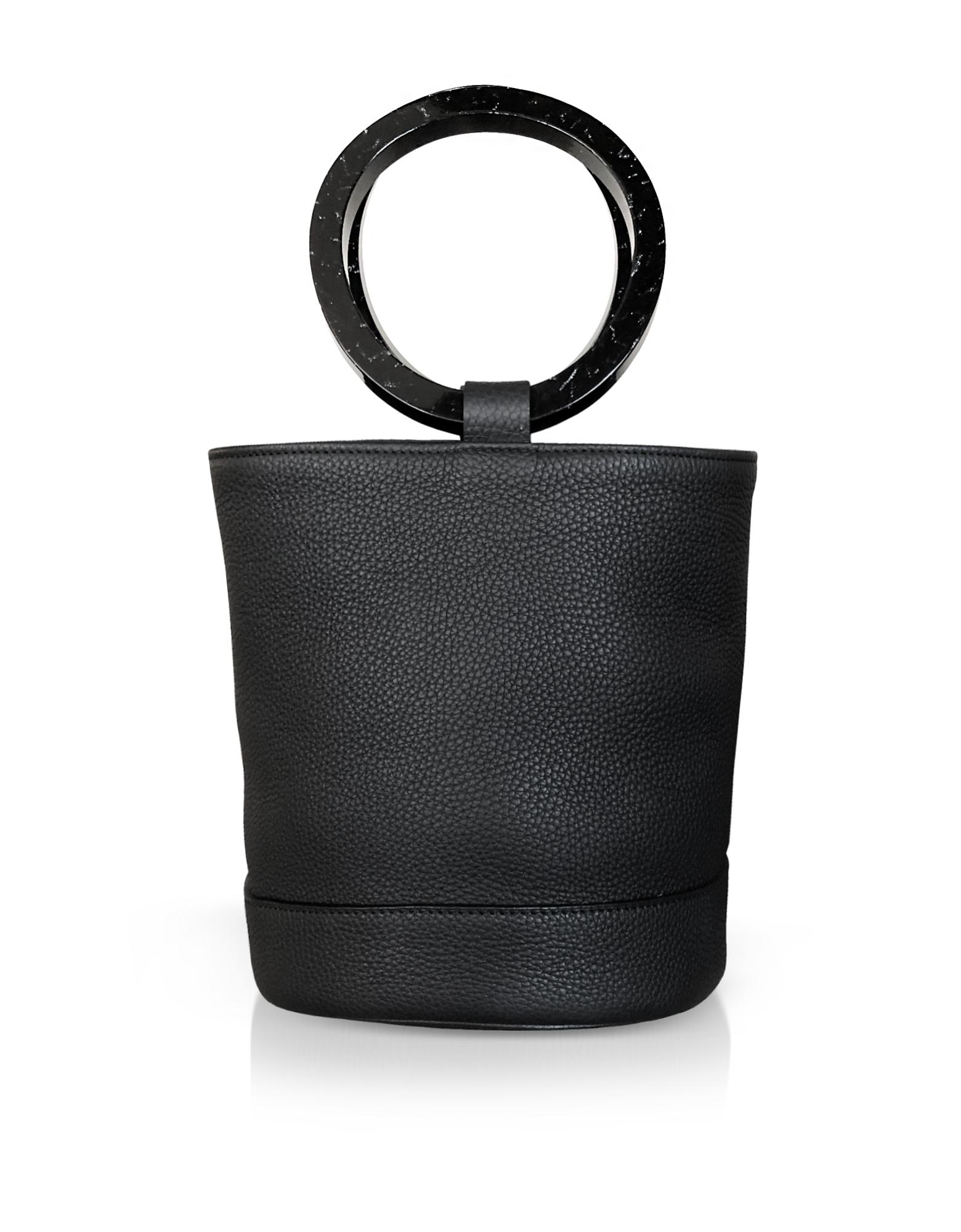 Image of Simon Miller Designer Handbags, Black Leather Bonsai 20cm Bag