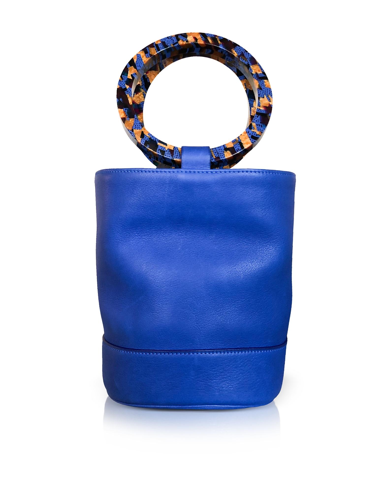 Image of Simon Miller Designer Handbags, Cobalt Blue Leather Bonsai 20cm Bag