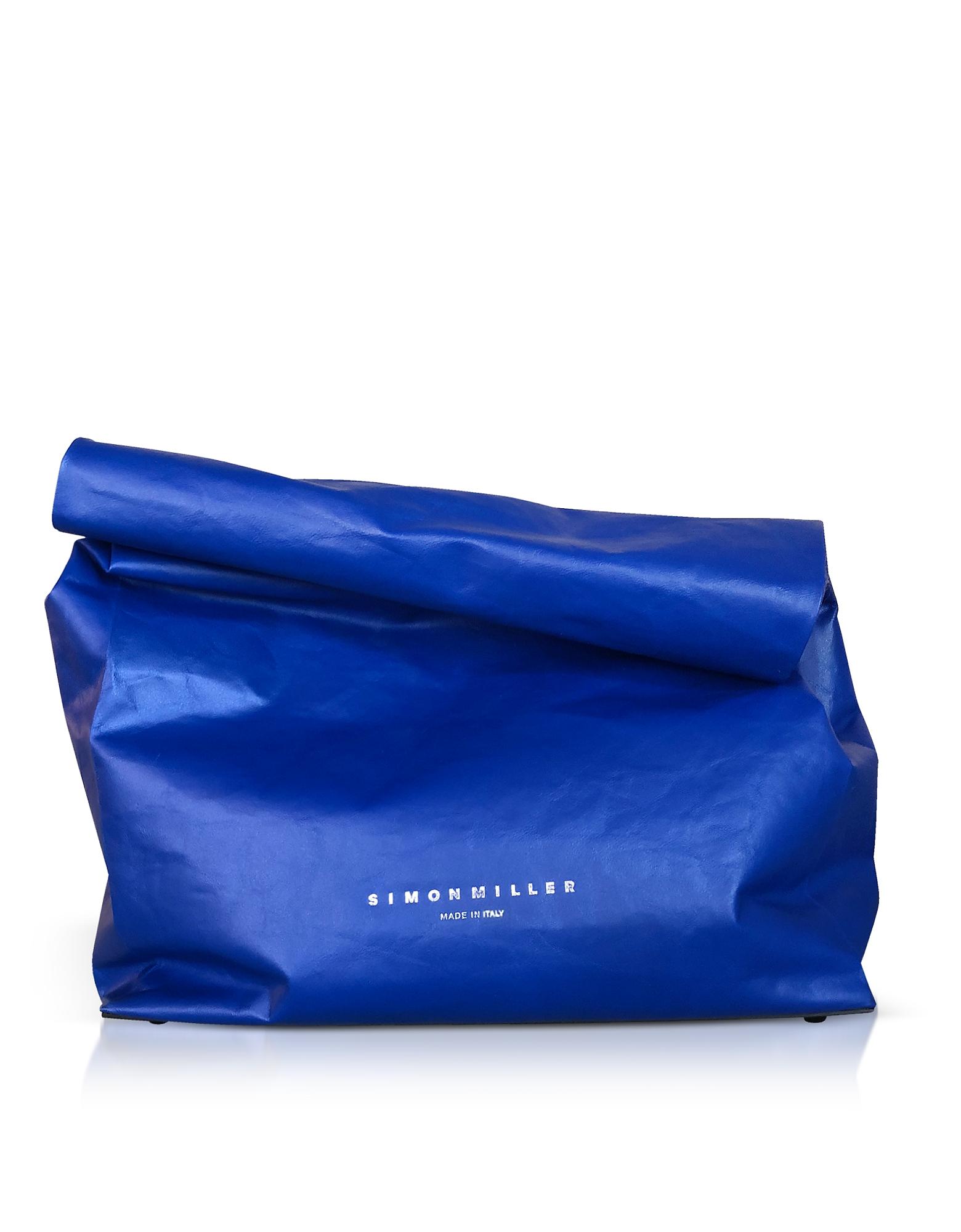 Image of Simon Miller Designer Handbags, XL Cobalt Leather 30cm Lunch Bag