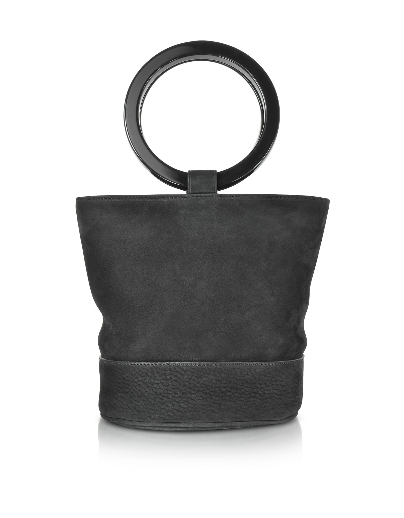 Simon Miller Handbags, S804 Black Nubuck Bonsai Bag