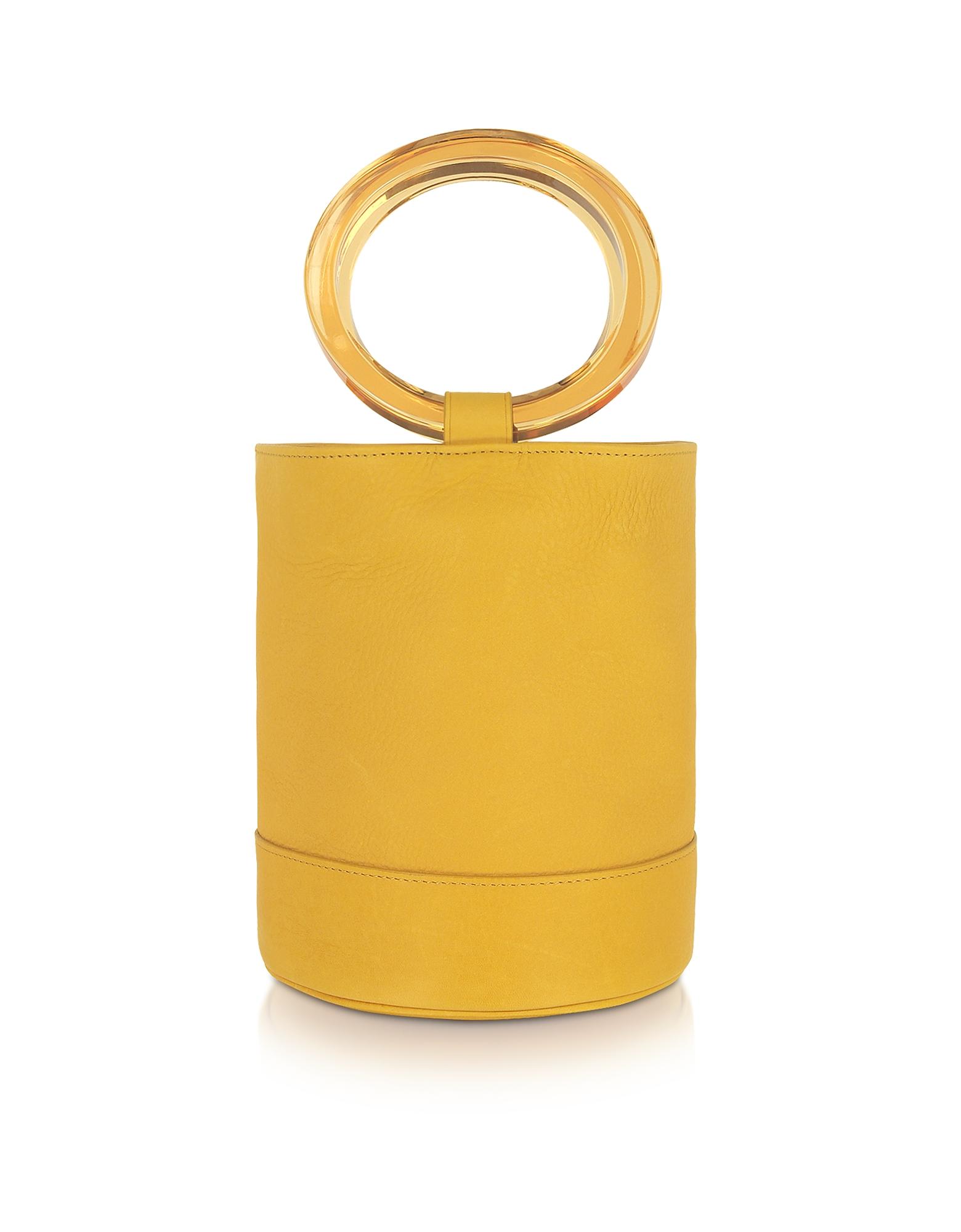Simon Miller Designer Handbags, Sun Yellow Bonsai 20 Bucket Bag