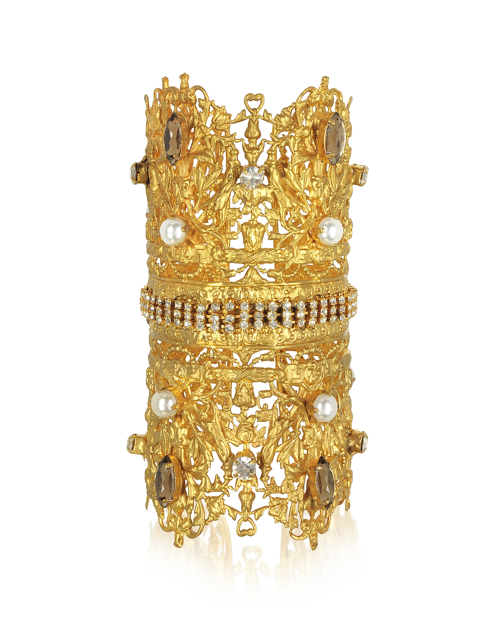 Sara Bencini Designer Bracelets, Golden Brass Double Crown Cuff Bracelet w/Glass Pearls