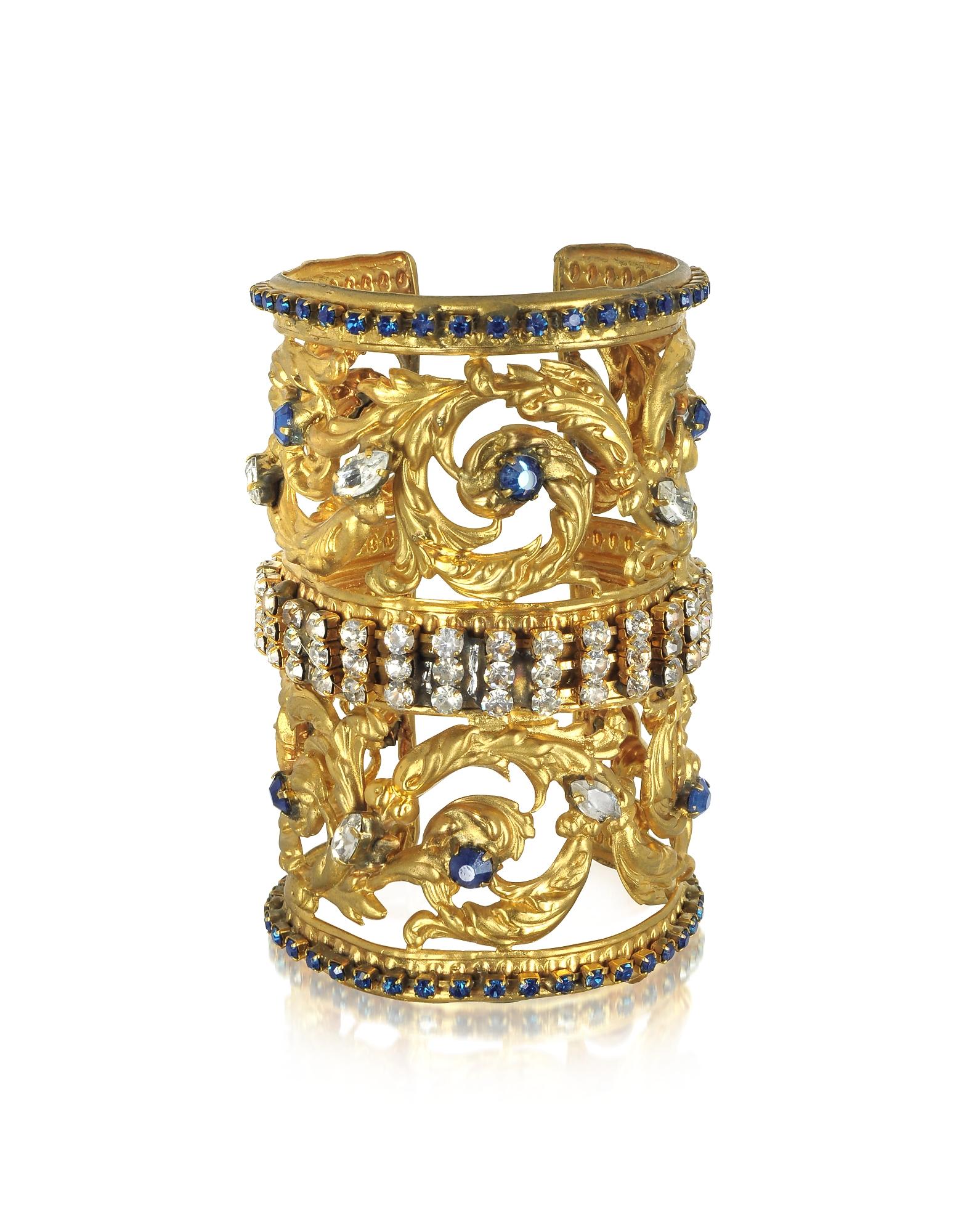 Braccialetto in Ottone Placcato Oro Corinthian Column con Pavè di Cristalli