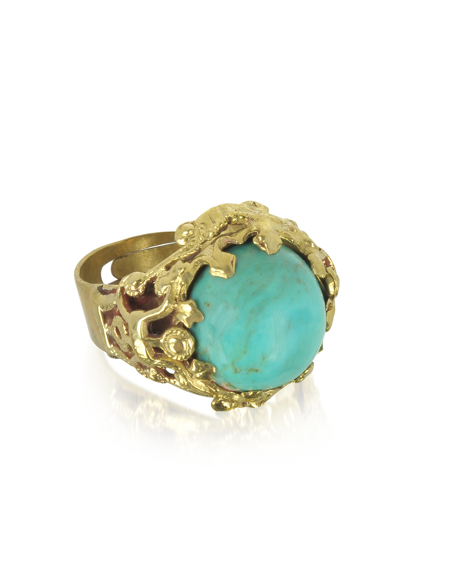 Sara Bencini Rings, Polished Brass and Turquoise Round Cabochon Florence Ring