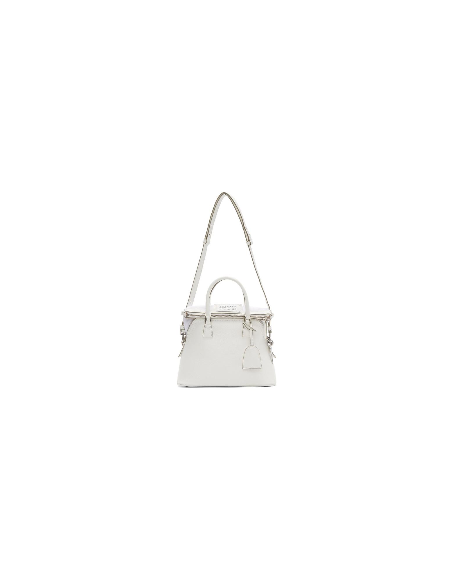Maison Margiela Designer Handbags, White Medium 5AC Bag