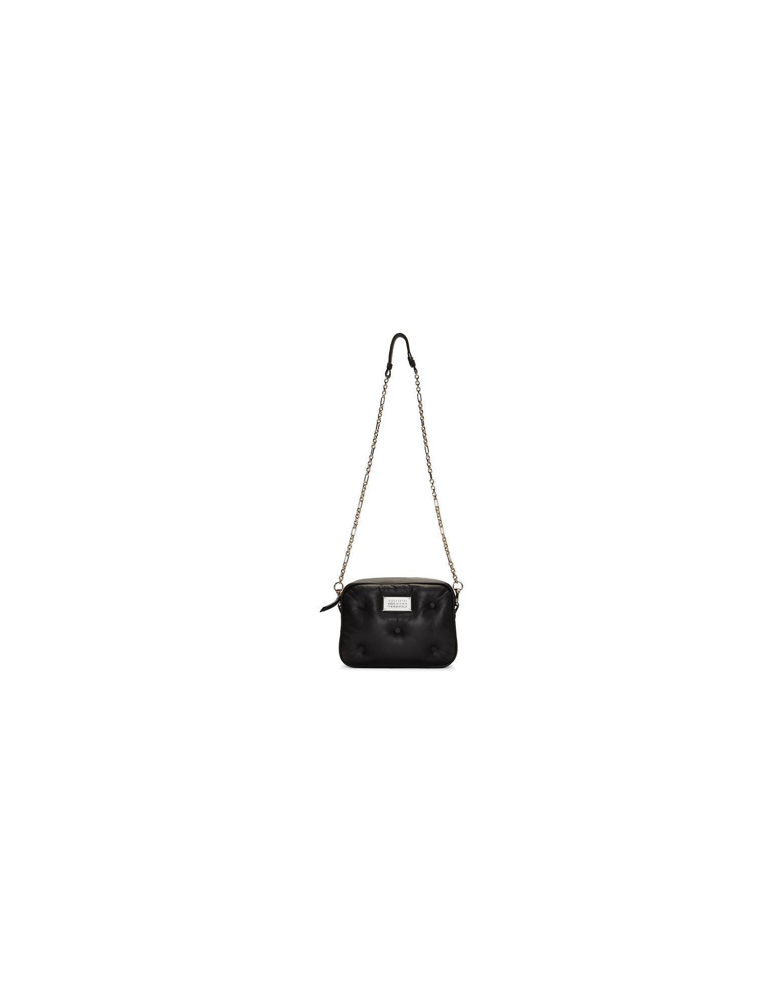 Maison Margiela Designer Handbags, Black Small Glam Slam Box Bag