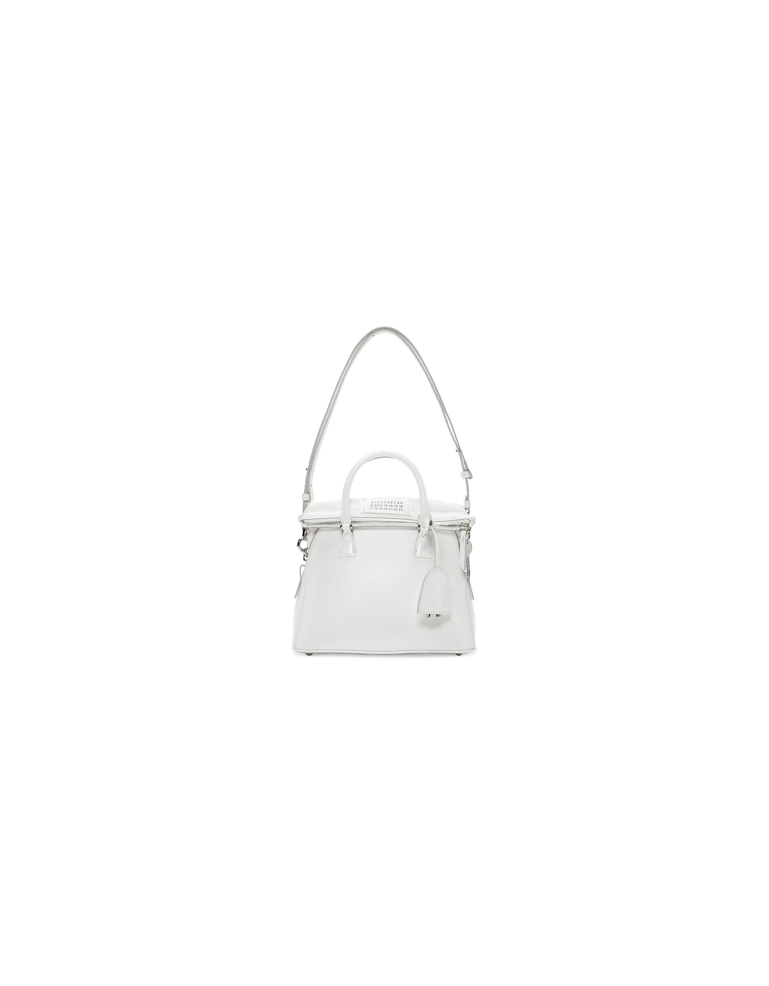 Maison Margiela Designer Handbags, White Medium Patent 5AC Bag