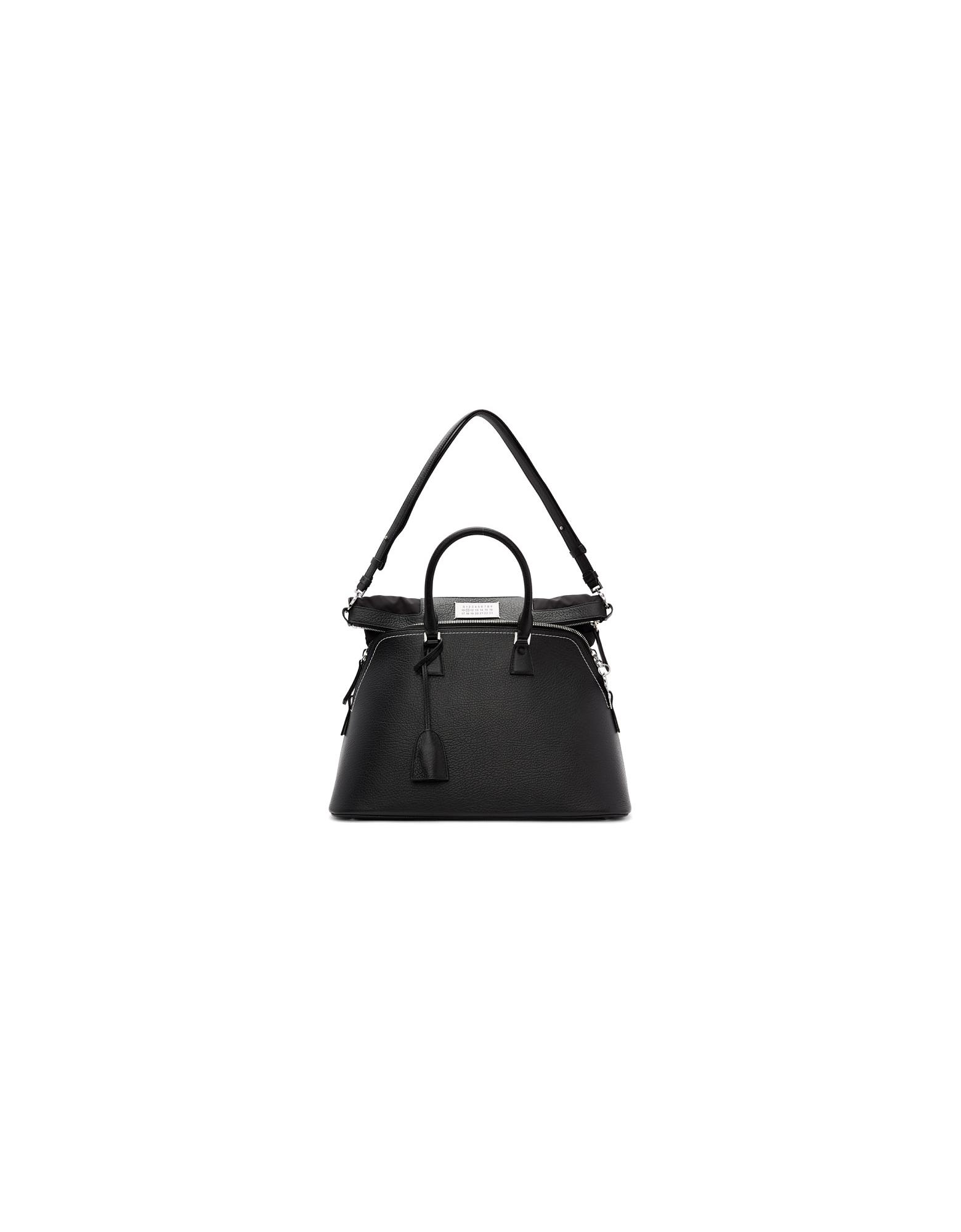 Maison Margiela Designer Handbags, Black Large 5AC Bag