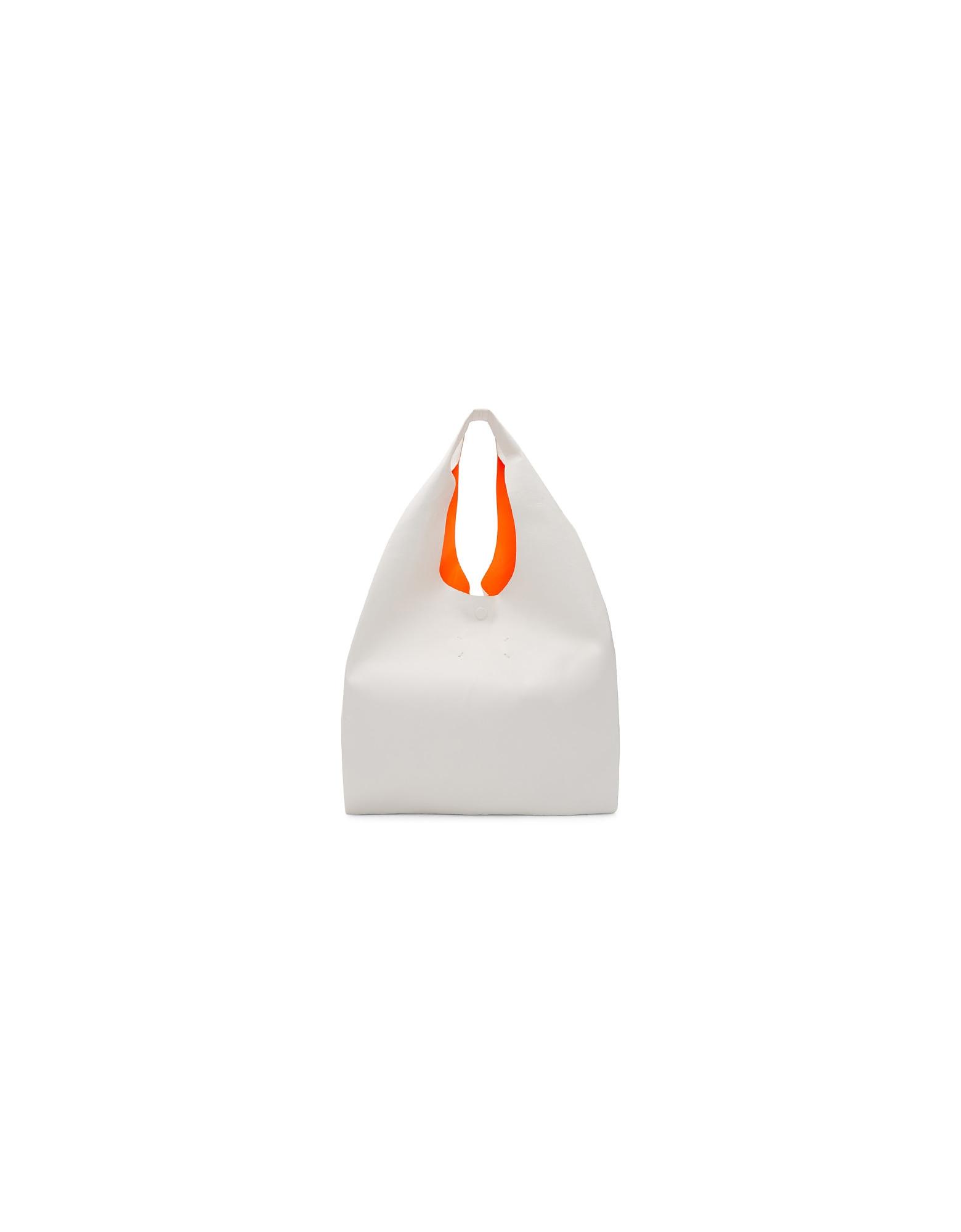 Maison Margiela Designer Handbags, White and Orange Leather Tote