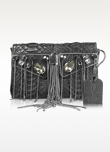 One Another - Fringed Python Leather Clutch - Maison du Posh