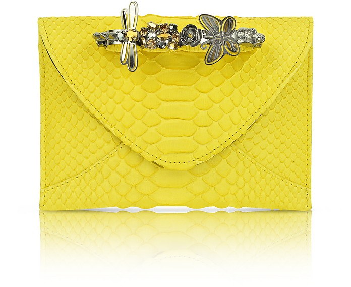 Yellow Python Knuckle Clutch - Maison du Posh