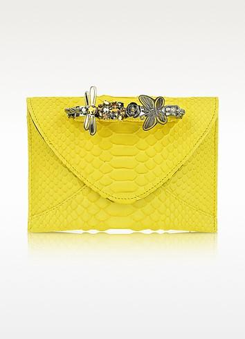 Yellow Python Knuckle Clutch - Maison du Posh