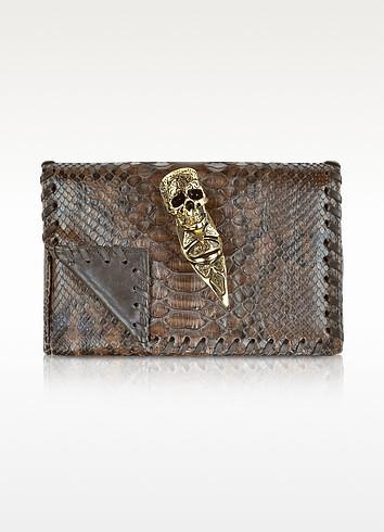 Brown and Black Python Skull Ring Clutch - Maison du Posh