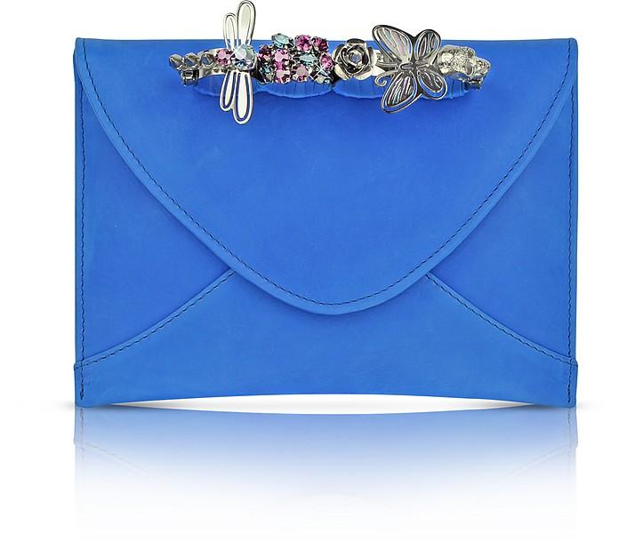 Blue Leather Knuckle Clutch - Maison du Posh