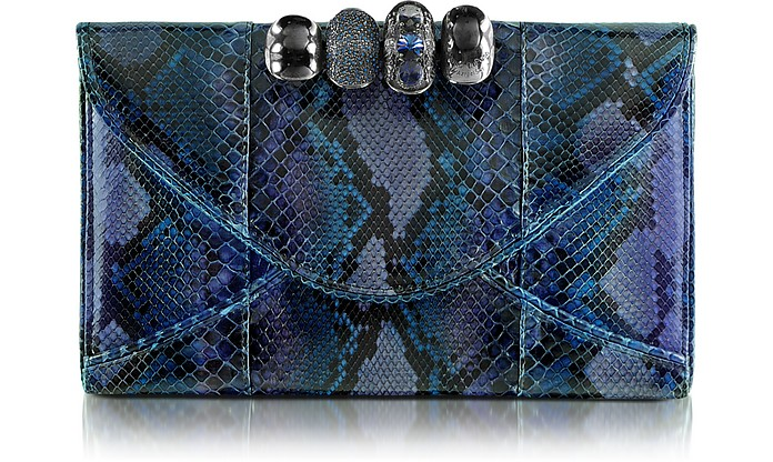Python Leather Knuckle Clutch - Maison du Posh