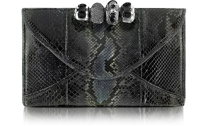 Python Leather Knuckle Clutch - Maison du Posh