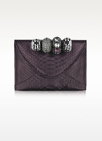 Metallic Python Leather Knuckle Clutch - Maison du Posh