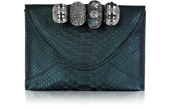 Metallic Python Leather Knuckle Clutch - Maison du Posh