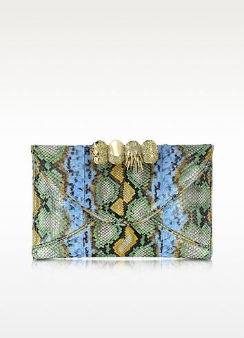 Green, Gold and Light Blue Python Leather Knuckle Clutch - Maison du Posh