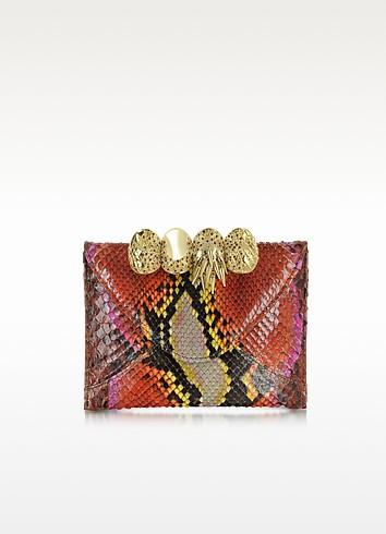 Python Leather Knuckle Mini Clutch - Maison du Posh