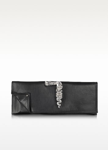 Black Leather Knuckle Ring Clutch - Maison du Posh
