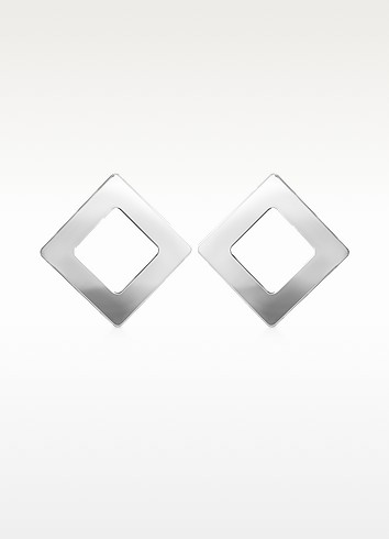 Big - Sterling Silver Square Earrings - Mita Marina Milano
