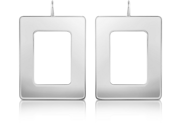 Big - Sterling Silver Rectangle Drop Earrings - Mita Marina Milano