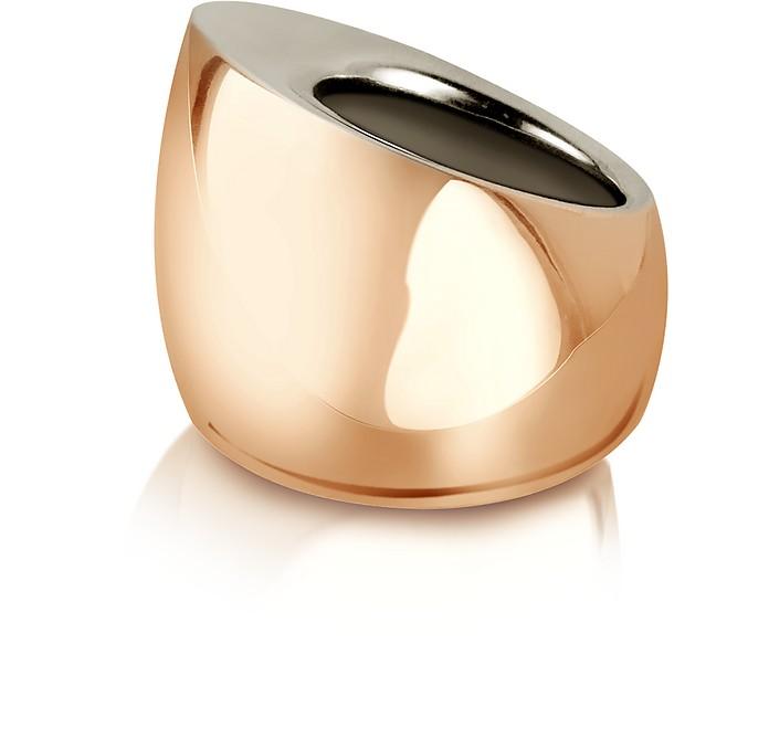Tunnel - Sterling Silver and Rose Gold Ring - Mita Marina Milano