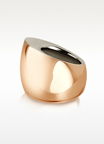 Tunnel - Sterling Silver and Rose Gold Ring - Mita Marina Milano