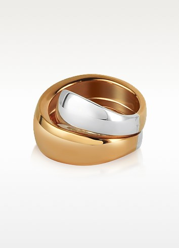 Kiss - Sterling Silver and Rose Gold Ring - Mita Marina Milano