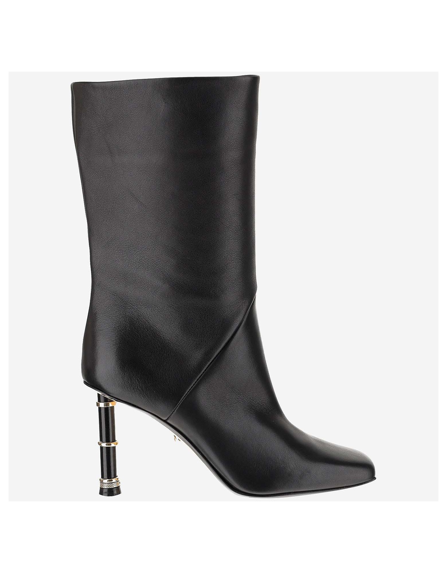 Alevi Designer Shoes, Black Leather Grace 80MM Boots